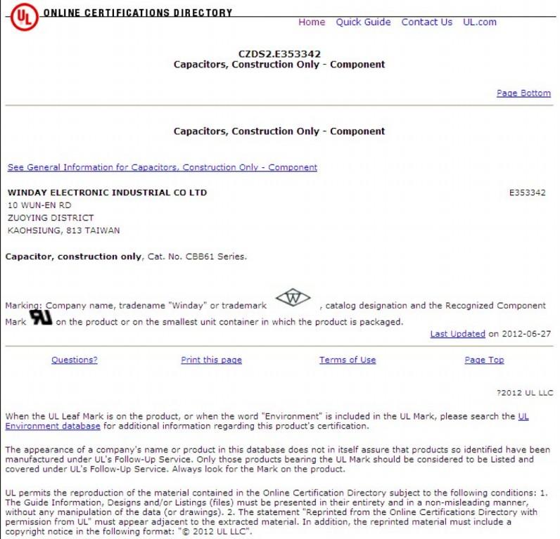 启动电容CBB61 P0 UL 认证