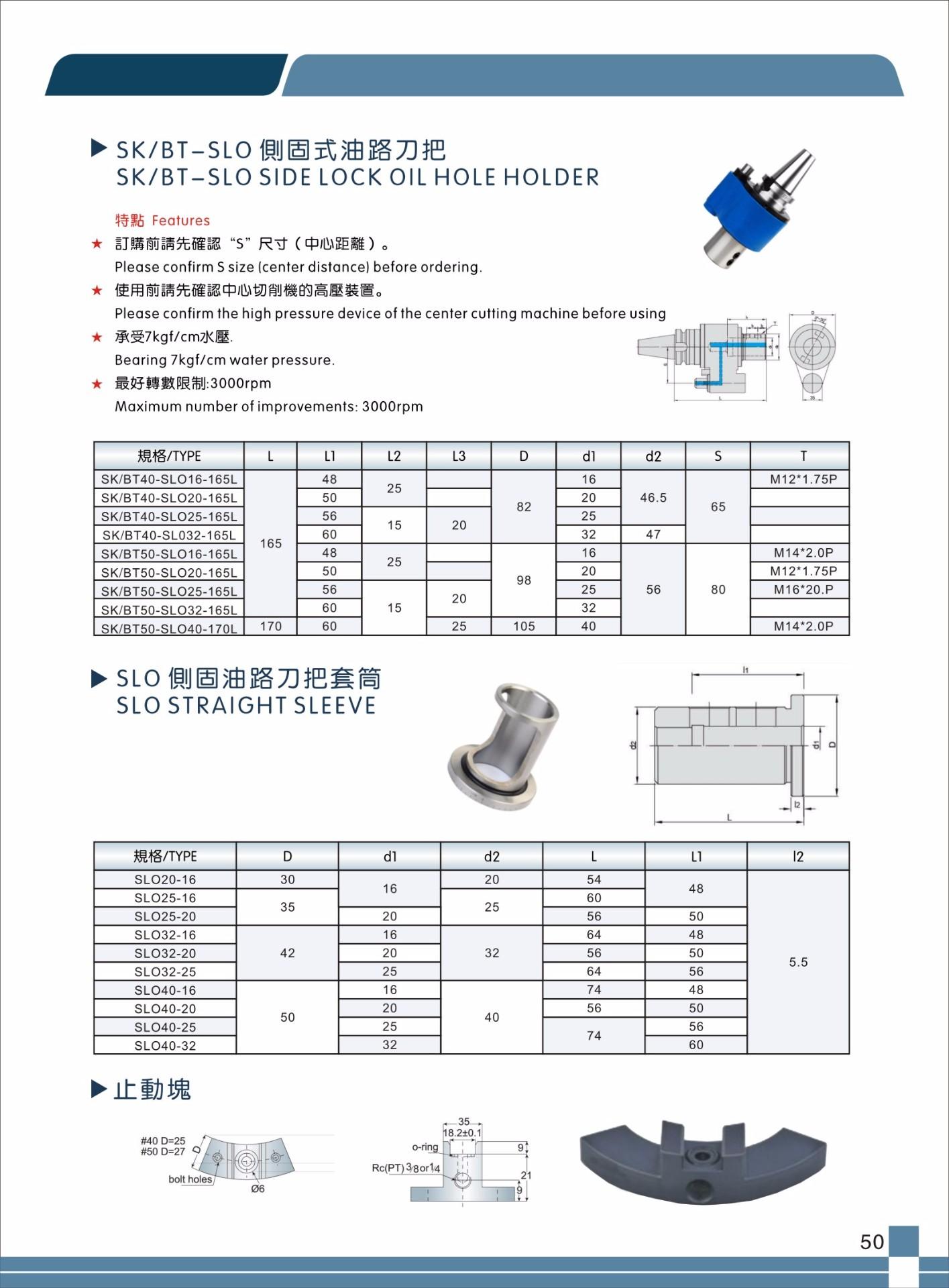 台湾 数控刀具 侧固式SLO油路刀柄