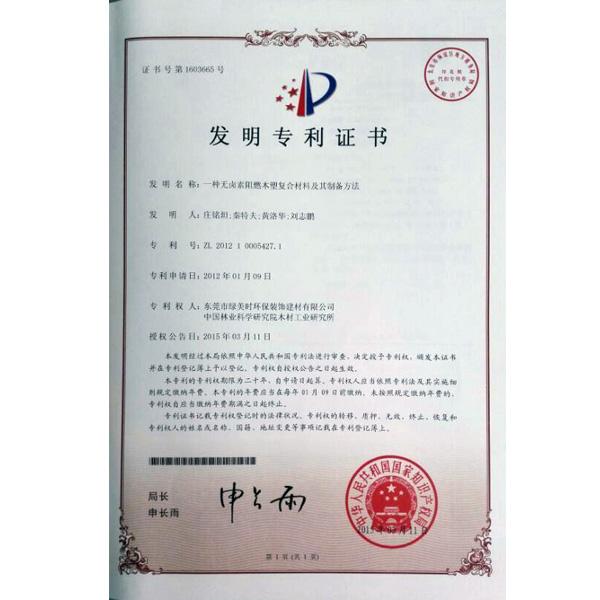 发明性专利证书