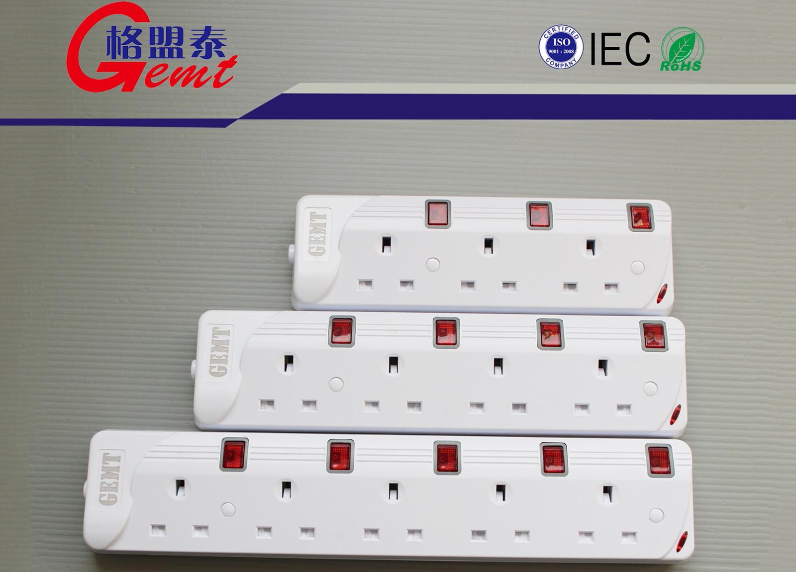 87系列英式排插3-5位带独立开关英标排插英规带线排插IECROHS认证