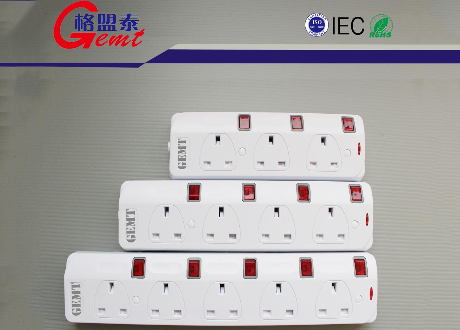 91系列英式排插3-5位带独立开关英标排插英规带线排插IECROHS认证
