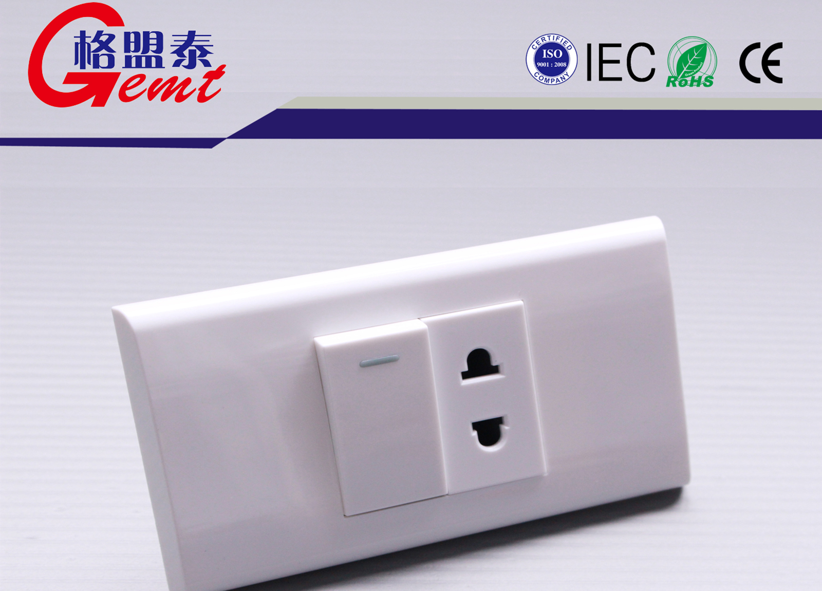 One Switch On-off With Two Round Socket