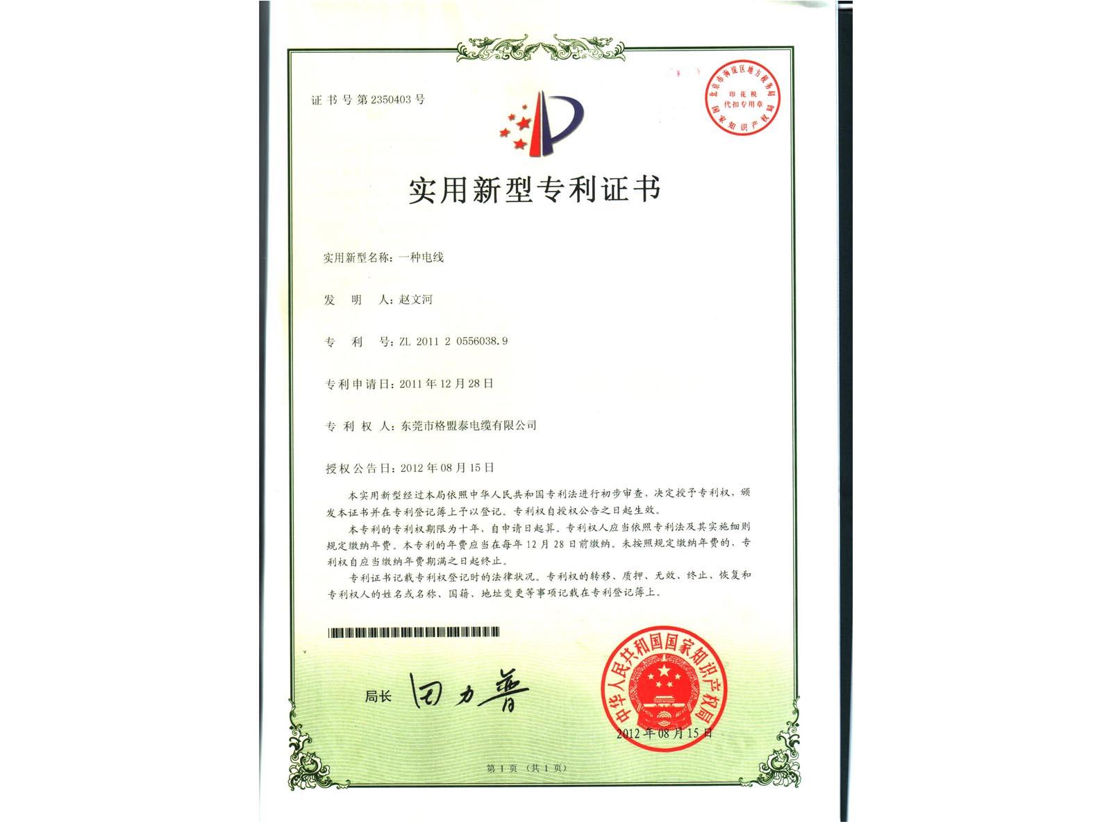 Wire Patent Certificate