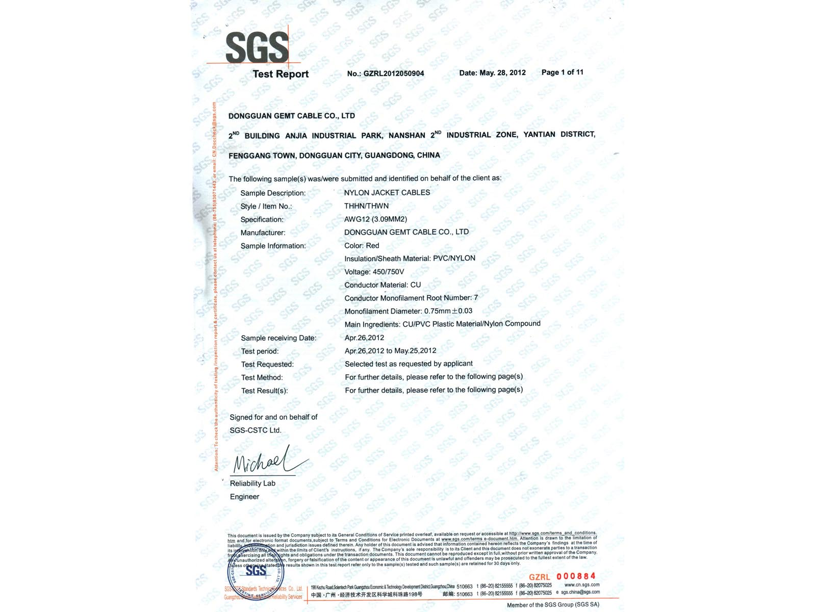 SGS Testing of Nylon Cables