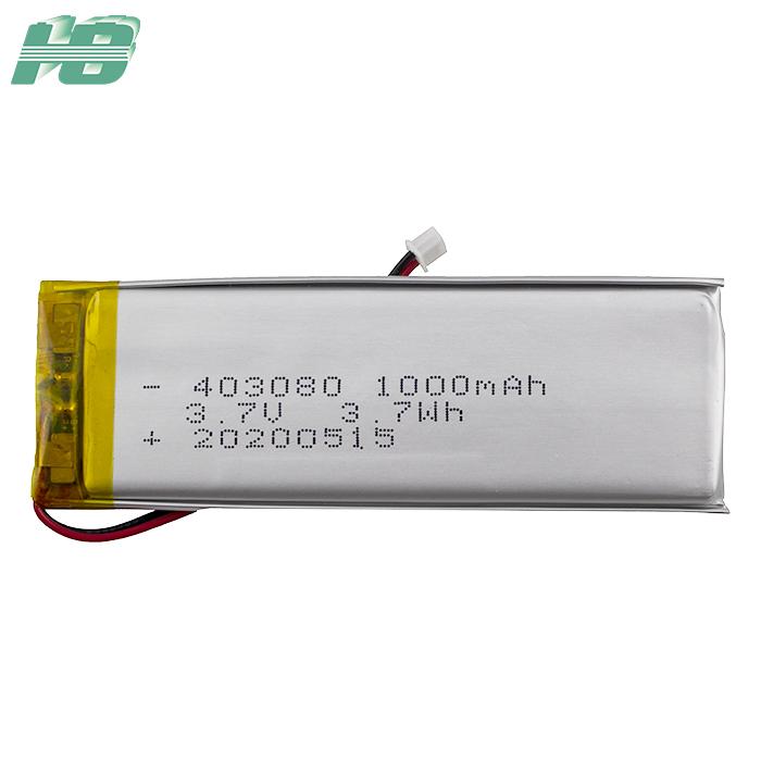 浩博403080聚合物锂电池组定制1000mAh感应灯3.7V锂离子电池厂家