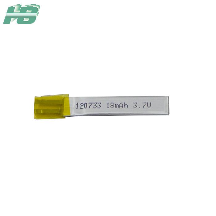浩博120733聚合物锂电池3.7V电池定制18mAh三元锂离子充电电池厂