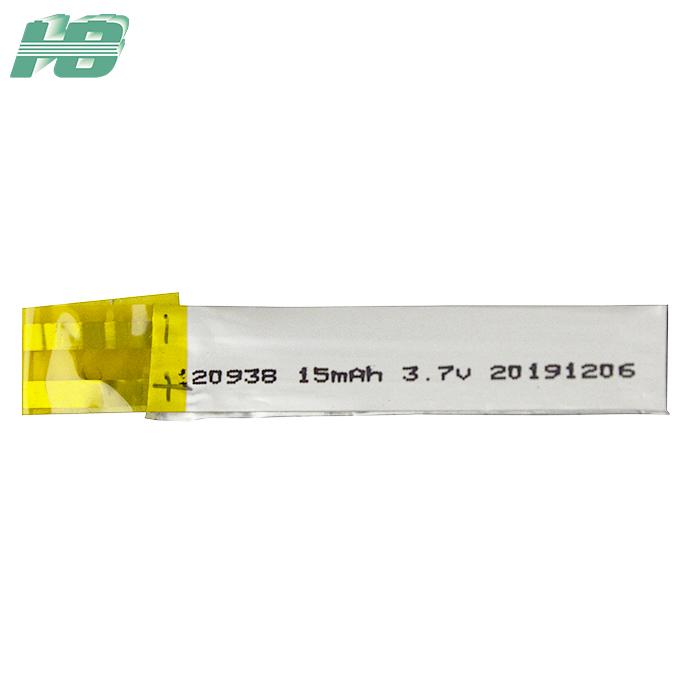 浩博120938超薄电池15mAh厚1.2mm固态电池3.7V异形锂离子电池厂家