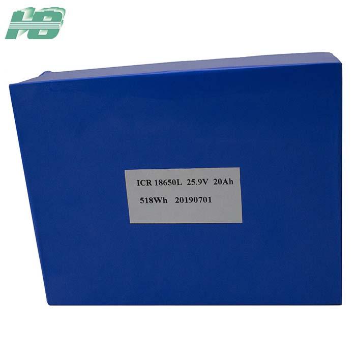 浩博25.9V锂电池20Ah大容量18650三元锂离子充电电池定制厂家直销