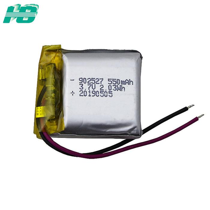 浩博902527聚合物锂电池550mAh三元锂离子可充电电池3.7V厂家直销
