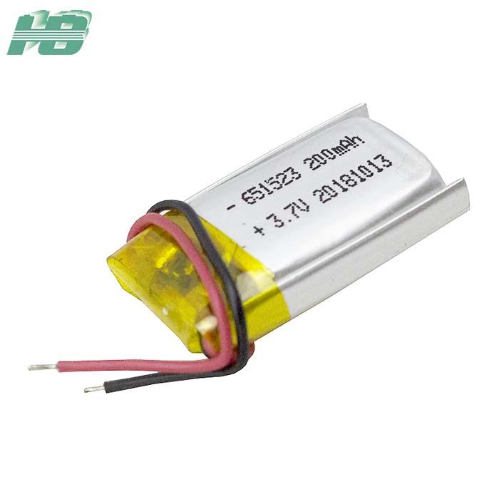 浩博651523聚合物锂电池200mAh三元锂离子可充电电池3.7V厂家直销