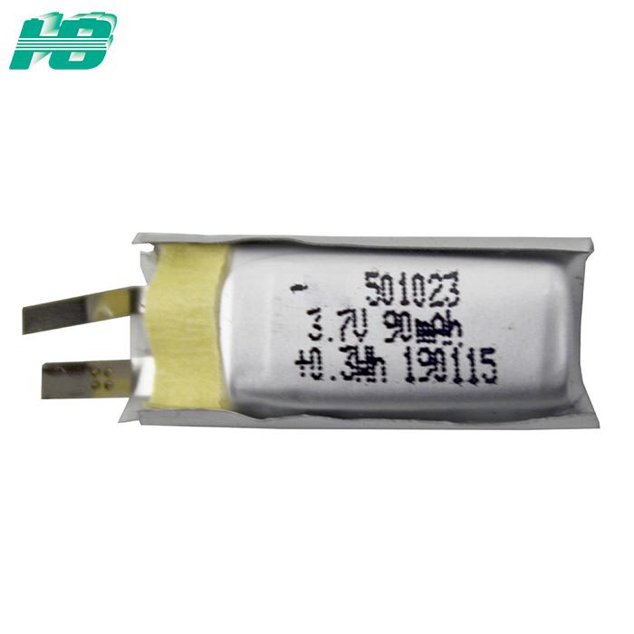 浩博501023聚合物锂电池90mAh三元锂离子电池厂家3.7V锂电池定制
