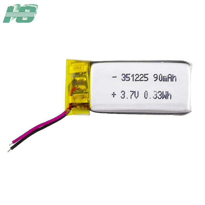 浩博351225聚合物锂电池90mAh大容量定制3.7V锂离子充电电池厂家