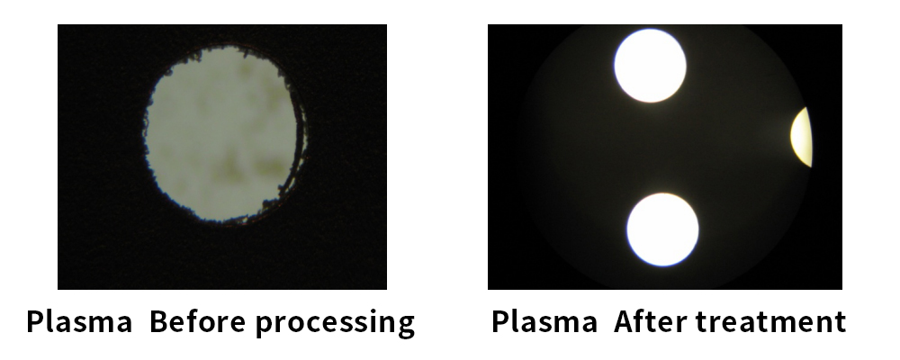 Plasma test: glue removal in the hole
