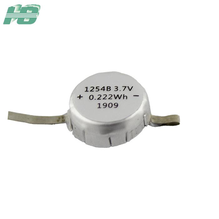 浩博1254纽扣电池60mAhTWS耳机电池3.7V聚合物锂离子充电电池厂家