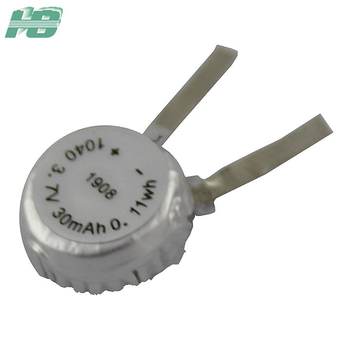 浩博1040纽扣电池30mAhTWS耳机电池3.7V聚合物锂离子充电电池厂家