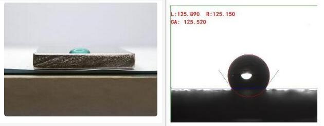 等离子处理前水滴角示意图-金铂利莱科技