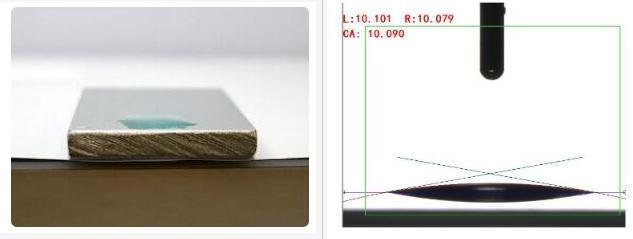 等离子处理后水滴角示意图-金铂利莱科技